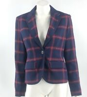 Merona Blazer Size 4 Navy Blue Red Plaid One Button Suit Jacket Career Womens