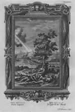 Incisione su rame originale da Physica Sacra (1735-8) - Pestis laqueus
