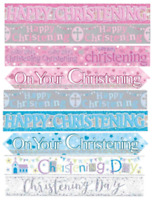 Christening Male or Female Pink Blue Banner Party Wall Baptism Decoration