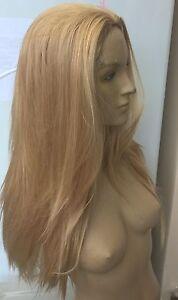 medium blonde straight 3/4 half head half cap long hair wig fancy dress party 1