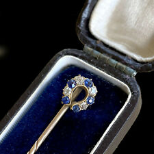 Victorian 14ct/14k,585 Gold,Diamond & Sapphire horse shoe stick,tie,cravat pin