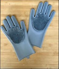 1Pair Magic Rubber Dish Washing Gloves 2in1 Scrubber Cleaning Scrubbing