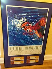 Framed/Matted 1996 Atlanta Centennial Olympic Swimming Poster and Tickets