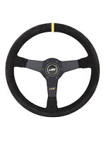 """BLACK SUEDE DISHED STEERING WHEEL 350mm 13.8"""" LUISI MIRAGE CORSA """"MADE IN ITALY"""""""