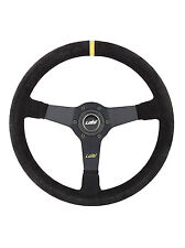"""BLACK SUEDE DISHED STEERING WHEEL 350mm 13.8"""" LUISI MIRAGE CORSA - BRAND NEW"""