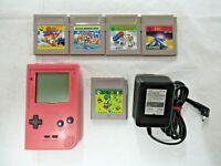 L690 Nintendo Gameboy Pocket Console Pink Japan GB w/adapter 5 game Mario Land