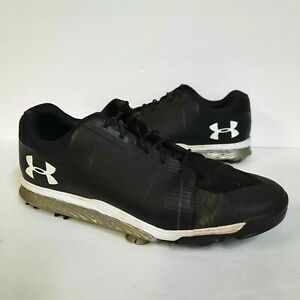 UNDER ARMOUR TEMPO MENS 10.5 GOLF SHOES CLEATS SPIKE WHITE SILVER BLACK UA SPORT