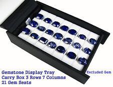 GEMS CARRY TRAVEL DISPLAY BOX SHOW CASE GEMSTONE 3 Rows 7 Columns 21 Seats