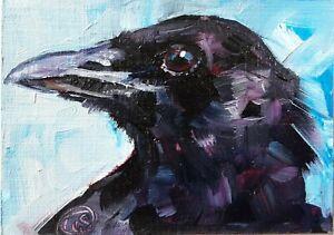CROW 2 Original ACEO Mini Oil Painting, Crow, Bird by Lee Ellen Smith