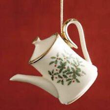 Lenox Holiday Teapot Ornament-New-Holiday Pattern Fine China & Gold-Holly