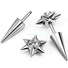 One Pair Bike Stainless Steel Spike Rivet Stud Earrings Screw Back Unisex Gift