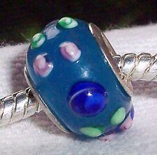 Blue Pink Green Flower Rose Murano Glass Bead for Silver European Charm Bracelet