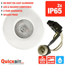 2 X WHITE SOFFIT LIGHTS IP65 WEATHERPROOF DOWNLIGHTS LED OR HALOGEN SUITABLE