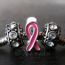 Breast Cancer Awareness Pink Ribbon Charm And Crystal Birthstone European Beads