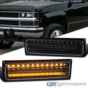 For 88-99 Chevy C10 GMC C/K LED Bumper Lights Parking Lamps Black Left+Right
