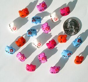 20 Kitty Cat Heads Resin Buttons Variety Mix Colors shank back sew on