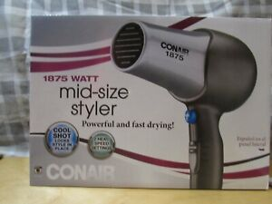 Conair 1875 Watt Mid-Size Hair Dryer Styler, Silver Gray, NEW 2 temp settings