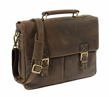 Mens Brown Leather Briefcase Classic Vintage Satchel Office Business Laptop Bag
