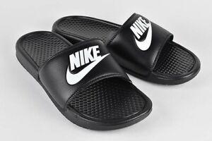 NEW Nike Benassi JDI Men's Size 343880-090 Black/White Slides Sandals NWT!