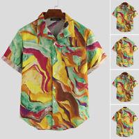 Mens Fashion Printed Short Sleeve Casual Loose Shirts Vacation Blouse Tops Tee