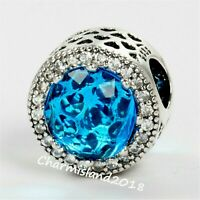 Authentic Pandora 791725CZ  S925 ALE Clear Sky blue Radiant Hearts Charm