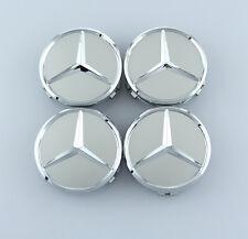 4Pcs 75mm Silver Mercedes Benz Car Sticker Emblem Wheel Center Hub Cap Cover