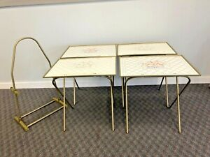 Vintage Folding Snack Table Set w Storage Stand side tv caddy cottage core 80s