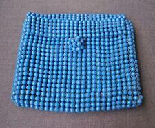 VINTAGE 70'S TURQUOISE PLASTIC BEADED CLUTCH PURSE BAG