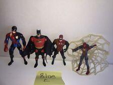5 Pc. Lot of Superhero Action Figures Web Red Batman Robin Spiderman Battle Worn
