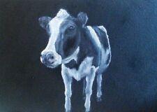 Vache Original Peinture à l'huile sur carton toile par Sian Sloman
