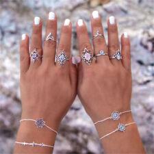 7pcs/Set Women Ring Bohemian Geometric Artificial Gemstone Carved Rings Jewelry