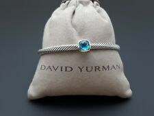 David Yurman Noblesse Blue Topaz Cable Cuff Bracelet and 18k Gold, 4mm Size M