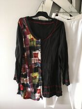 THREADZ Red Yellow Blue Black Long Sleeve Crushed Tunic Top Blouse 16