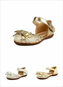 Wedding party Flower Girl's Shoes Closed Toe Lace Sandal Toddler size 4 Colors