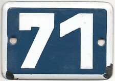 Cute old blue French house number 71 door gate plate plaque enamel metal sign