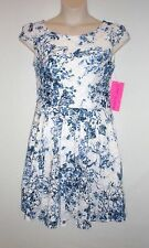 NWT $158 BETSEY JOHNSON Women's Floral Lace Overlay Dress, Cap Sleeve, White, 10