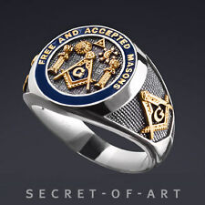 MASONIC F & AM SILVER 925 RING with 24K-GOLD PLATED PARTS - SUN and MOON, EYE