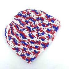 MESSY BUN ~ PONY TAIL HAT  WOMEN'S BEANIE  OLD GLORY ~ HAND CROCHETED