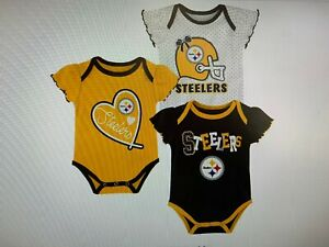 Pittsburgh Steelers NFL Baby Girls' Newest Fan 3pk Bodysuit Set, 18 Months, NWT