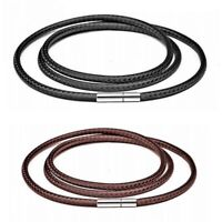 Black Leather Cord Necklace Rope Chain Rotary Clasp For DIY Necklaces Jewelry