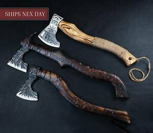 Forged Carbon Steel Viking Axe with Rose Wood Shaft Viking Bearded Camping Axe
