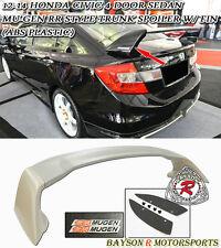 Mu-gen RR Style Rear Trunk Spoiler Wing (ABS) + Emblem Fits 12-15 Civic 4dr