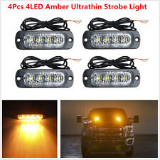 4x Amber 4LED Ultrathin Flash Car Emergency Beacon Hazard Strobe Warning Lights