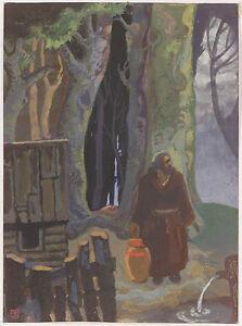 "Erwin Stolz (1896-1987) ""Hermit"", Tempera, 1920s"