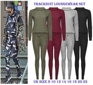 UK Womens Knitwear 2 PCS Tracksuits Set Ladies Joggers Active Sporty Loungewear
