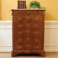 Antique Italian Provincial Chest of Drawers. Rosewood Crotched Veneer Over Pine.