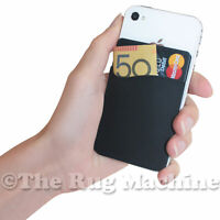 SMART WALLET FOR PHONE - BLACK Durable Silicone Holds Cards Cash Keys Earphones