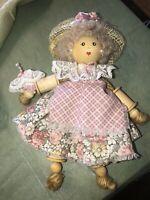 "Artist Made Wood Spool Doll ""Elaine"" Marked ""ck '91"" Dress Lace Women 8"" Tall"