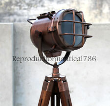 Vintage Marine Industrial Copper Nautical Floor Lamp With Wooden Tripod Decor