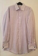 BURBERRY WHITE PURPLE GRAY CHECK FRENCH CUFF 100% COTTON SHIRT SIZE 16 - 35